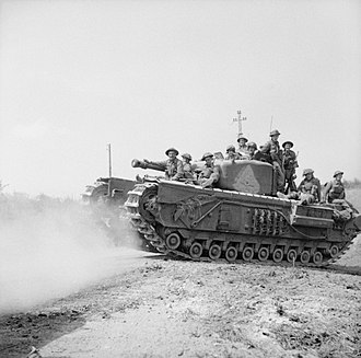 Tank desant - Churchill tank carrying infantry in Saint-Pierre-Tarentaine (Normandy), 3 August 1944