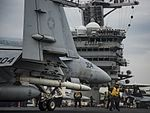 A F-A-18E Super Hornet prepares to launch from USS Carl Vinson. (34551872906).jpg