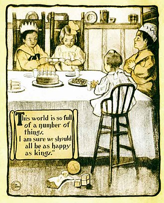 A Child's Garden of Verses - Happy Thought, as used in A Little Book for A Little Cook, 1905