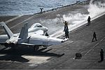 A U.S. Navy EA-18G Growler aircraft assigned to Electronic Attack Squadron (VAQ) 130 prepares to launch from the flight deck of the aircraft carrier USS Harry S. Truman (CVN 75) in the Gulf of Oman Oct. 5, 2013 131005-N-GR168-022.jpg
