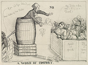 "Test Act - A 1790 cartoon satirizing the efforts of Charles James Fox to get the Test and Corporation Acts repealed. British natural philosopher and theologian Joseph Priestley is depicted preaching from atop a pile of his own works, in a pulpit made from a barrel inscribed ""FANATICISM"", to Fox seated in a box pew. Fox asks, ""Pray, Doctor is there such a thing as a Devil?"" Priestley responds ""No"", as the devil himself announces, ""If you had eyes behind, you'd know better my dear Doctor""."