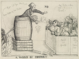 "Joseph Priestley and Dissent - ""A Word of Comfort"" by William Dent (1790). Priestley, preaching in front of Charles James Fox who asks ""Pray, Doctor is there such a thing as a Devil?"", to which Priestley responds ""No"" while the devil prepares to attack Priestly from behind."