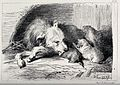 A bitch licking its puppies while they are feeding on her. E Wellcome V0020820.jpg