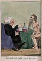 A fat parson with large glass of port in hand is watched by Wellcome V0019552.jpg