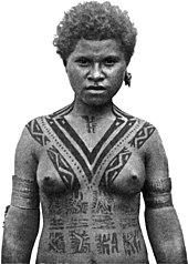 02cb22ee2 Tattooing among females of the Koita people of Papua New Guinea  traditionally began at age five and was added to each year, with the  V-shaped tattoo on the ...