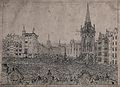 A vast crowd of people throngs the streets of a city. Etchin Wellcome V0040761.jpg