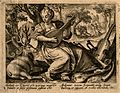A woman plays music to a stag; God condemns Adam and Eve to Wellcome V0007684.jpg