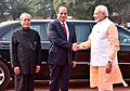 Abdel Fattah el-Sisi being received by the President, Shri Pranab Mukherjee and the Prime Minister, Shri Narendra Modi, at the Ceremonial Reception, at Rashtrapati Bhavan, in New Delhi (2).jpg