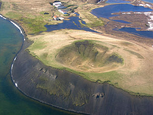 Rootless cone - A rootless cone at Myvatn Lake, Iceland.