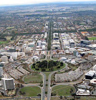 Light rail in Canberra - Aerial view of Northbourne Avenue prior to construction of the light rail. Seen looking north from Civic, with City Hill in the foreground.