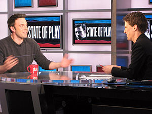 Ben Affleck at the MSNBC studios on the set of...