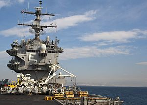 Aft view of the island of USS Enterprise (CVN-65) on 28 March 2012.jpg