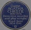 Agatha Christie 58 Sheffield Terrace blue plaque.jpg