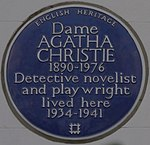 Agatha Christie 58 Sheffield Terrace blue plaque.jpg