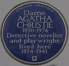 "Colour photograph of a wall plaque stating Christie ""lived here 1934–1941"""