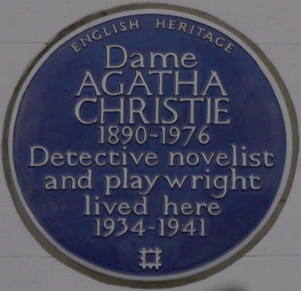 Agatha Christie 58 Sheffield Terrace blue plaque