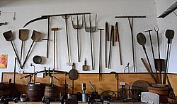 Agricultural tools in the Pořežany museum.jpg