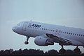 Airbus A320-111 F-WWDC Airbus Industrie, Farnborough UK, September 1988. (5589932346).jpg