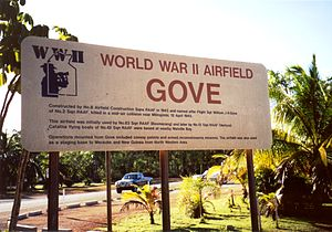 Gove Peninsula - Sign commemorating Gove Airport's World War II service.