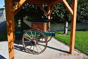 Aizelles - An old fire-fighting pump in Aizelles