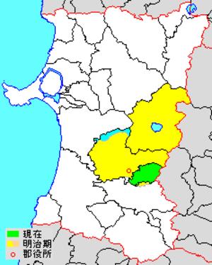 Semboku District, Akita - Map showing historic extent of Semboku District in Akita Prefecture colored area=original area; green=present area