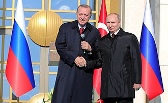 Akkuyu Nuclear Power Plant - Recep Tayyip Erdoğan (left) and Vladimir Putin at the Akkuyu Nuclear Power Plant ground-breaking ceremony on 3 April 2018