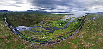 Lögberg - Alþingi Lögberg aerial panorama, taken in June 2017