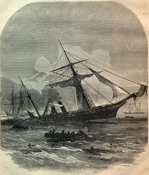 Raphael Semmes - 1864 engraving of the sinking of CSS Alabama