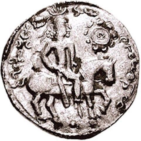 Alchon Huns ruler Khingila circa 440-490 CE with solar symbol