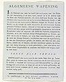 Algemene Wapening, decoratie op het Kadijksplein, 1795 (uitleg) Algemeene Wapening (titel op object), RP-P-OB-86.527A.jpg