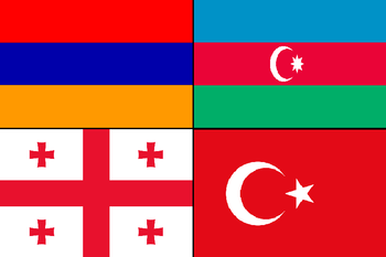 English: A flag of Armenia, Azerbaijan, Georgi...