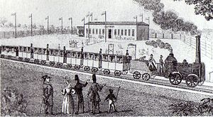 Leipzig–Dresden Railway Company - Temporary station restaurant at Althen with departing steam engine, around 1837