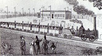 Leipzig–Dresden railway - Temporary station restaurant at Althen with departing steam engine, around 1837