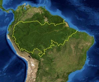 Bản đồ khu vực sinh thái rừng mưa Amazon theo định nghĩa của WWF. Đường màu vàng là đường bao quanh gần đúng rừng mưa Amazon (bỏ Venezuela và Guyana cùng Guyana thuộc Pháp). Các biên giới quốc gia có màu đen. Hình ảnh vệ tinh của NASA.