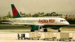 America West Airbus A319 N831AW pretty markings Houston 2002-6-AI-1-9 (31532020303).jpg