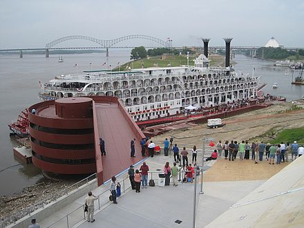 The American Queen docked at Beale Street Landing along the riverfront American Queen Memphis TN 2012-04-27 016.jpg