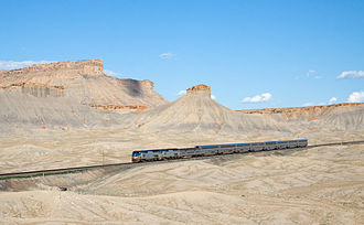 California Zephyr - Westbound California Zephyr by Book Cliffs in Utah