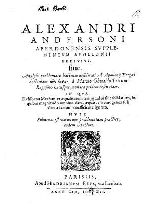 Alexander Anderson (mathematician) - Supplementum Apollonii redivivi, 1612