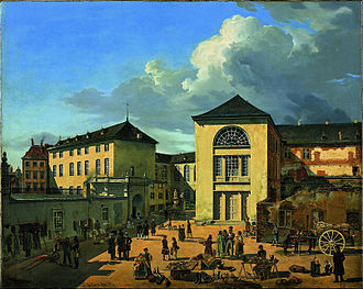Oswald Achenbach - Andreas Achenbach. The Academy Courtyard (The Old Academy in Düsseldorf), 1831, depicts the Academy shortly before Oswald began studying there. Museum Kunstpalast, Düsseldorf