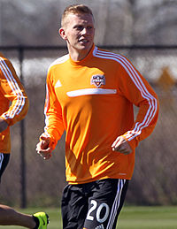 Andrew Driver, Houston Dynamo Midfielder, Mar 1, 2013.jpg