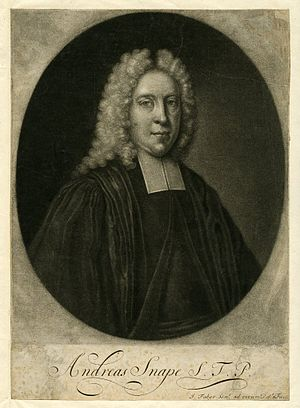 Andrew Snape - Andrew Snape, mezzotint by John Faber the Elder. A smaller version was also published, as a portrait of Orator Henley.