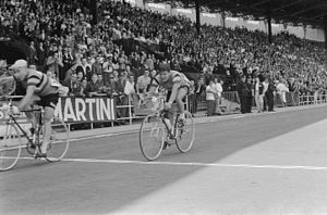 1960 Tour de France - Julien Schepens crossing the finish line ahead of Jacques Marinelli to win stage two at Heysel Stadium in Brussels