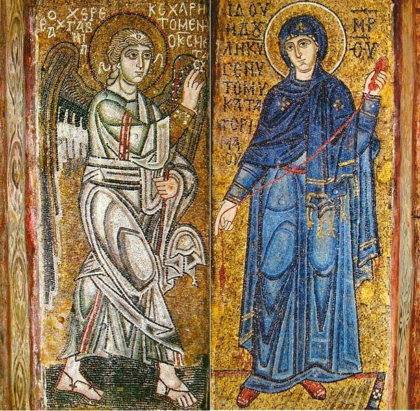 """""""Благовещение """", мозаики на двух столбах Софии Киевской, ок.  1040 г."""