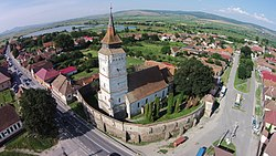 Ansamblul bisericii evanghelice fortificat-vedere aeriana.JPG
