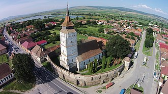 Feldioara - Image: Ansamblul bisericii evanghelice fortificat vedere aeriana