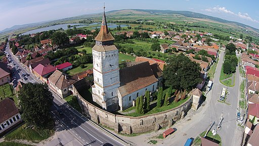 Ansamblul bisericii evanghelice fortificat-vedere aeriana