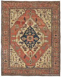 Left Image Silk Tabriz Persian Rug With A Predominantly Curvilinear Design Right Serapi Carpet Heriz Region Northwest Persia Circa 1875