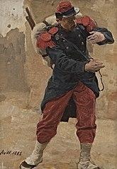 Französischer Infanterist mit Marschgepäck (Soldat in voller Montur). Studie zu Kriegsgefangen