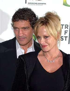 Antonio Banderas - Banderas with Melanie Griffith at the Shrek Forever After premiere in May 2010.