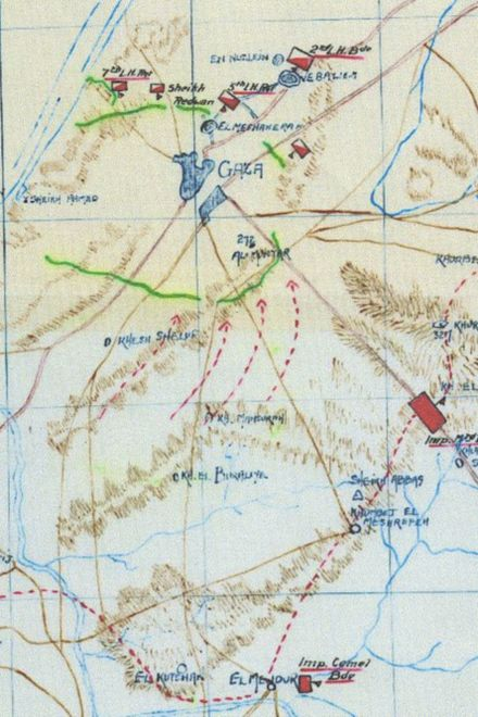 Four arrow headed red dotted lines indicate direction of infantry attack AnzacMD3.17WDA54.37detG.jpeg